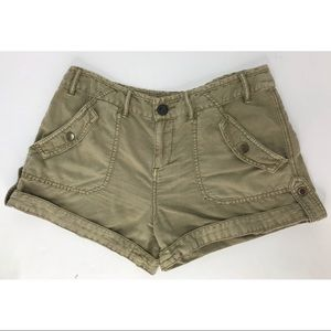 Free People Green Cargo Shorts Linen Blend Size 6